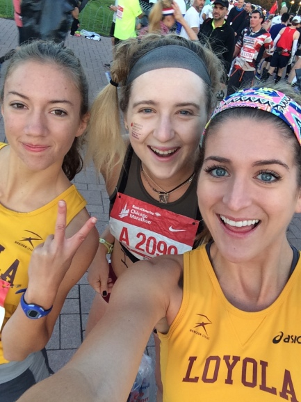 If you took a selfie before the start, did you even run a marathon? The LUXC squad takes the 2016 Bank of America Chicago Marathon. Hannah on my left, Alyvia on my right.